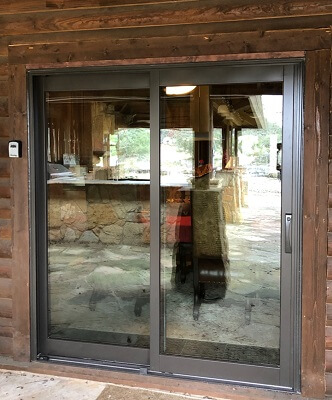 Pleasing New Sliding Patio Door In Wimberley Log Cabin Interior Design Ideas Inesswwsoteloinfo