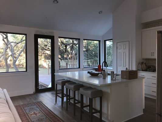 kitchen after image of austin home with new vinyl casement windows