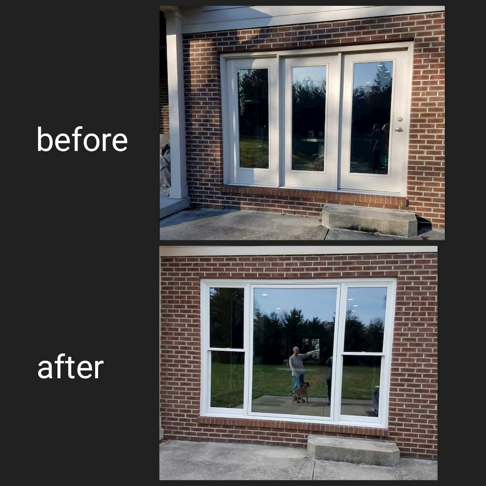 Before and after composite photo comparing an old patio door to a new wood window