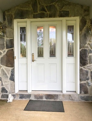 Fiberglass Entry Door Replacement With Decorative Glass