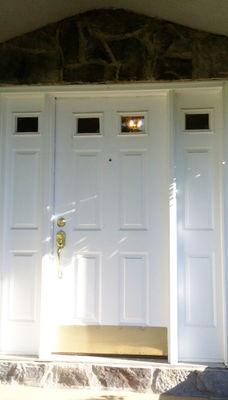 Fiberglass Entry Door Replacement with Decorative Glass