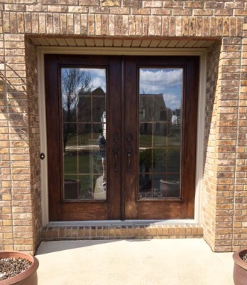 Fiberglass woodgrain Entry Door Replacement before