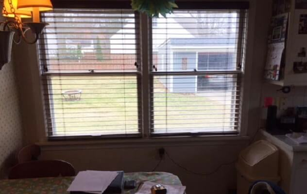 From Window to wood Sliding Patio Door Before