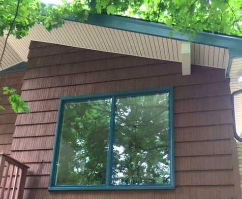 green wood sliding windows