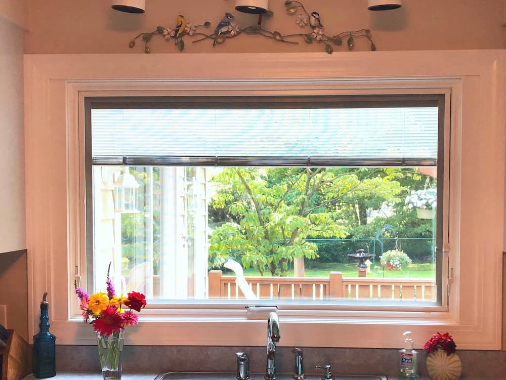 New wood awning window over kitchen sink