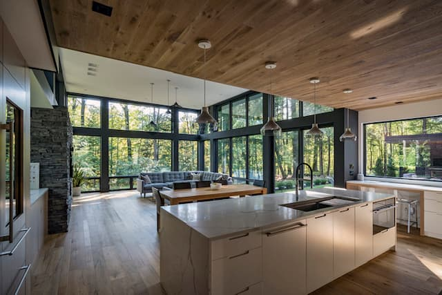 Cleveland kitchen and dining room with black casement windows