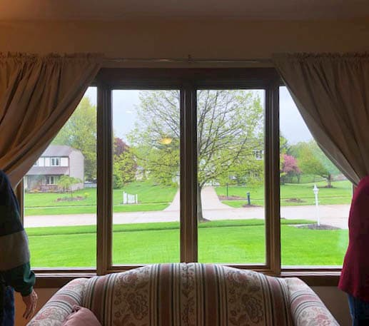 Interior view of new wood casement windows