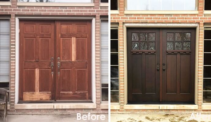 Before and After: Faded Wood Door Replaced With Durable Fiberglass Door