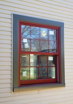 red double-hung windows