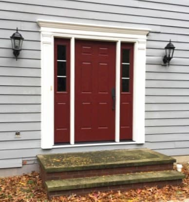 Deep Red Fiberglass Door Revitalizes Willoughby Entryway
