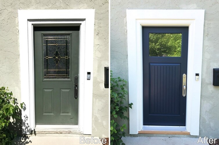 Naval Blue Fiberglass Entry Door Modernizes Columbus Home