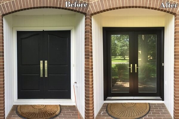 before and after double entry door replacement on Columbus, Ohio home