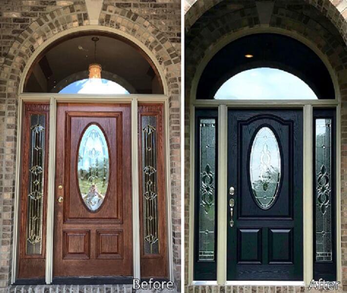 Faded Door Gets Replaced With Bold Black Fiberglass Door