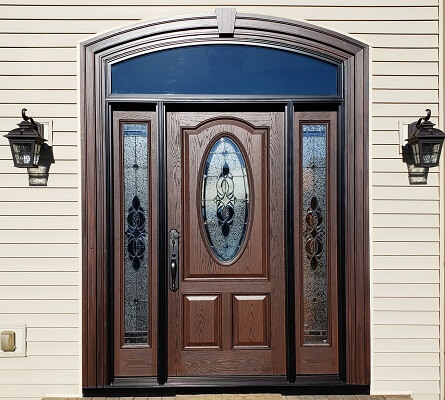 premium oak grain fiberglass entry door in Columbus