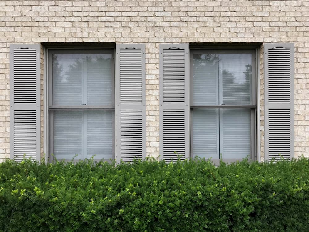 Two double-hung windows with beige shutters on an ivory brick home