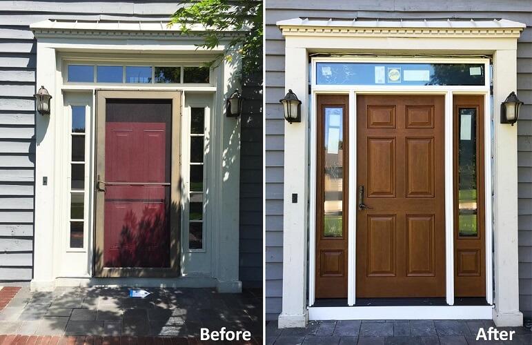 Attirant Fiberglass Entry Door Replacement Transforms Columbus Home Entryway