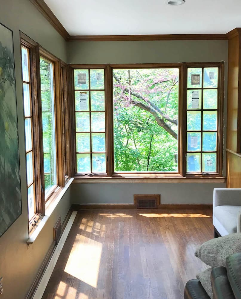 Interior view of new wood fixed and casement windows