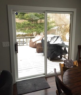 old white sliding patio door