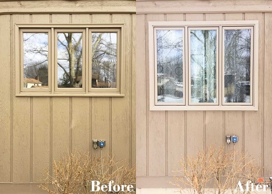 before and after of wood window replacement