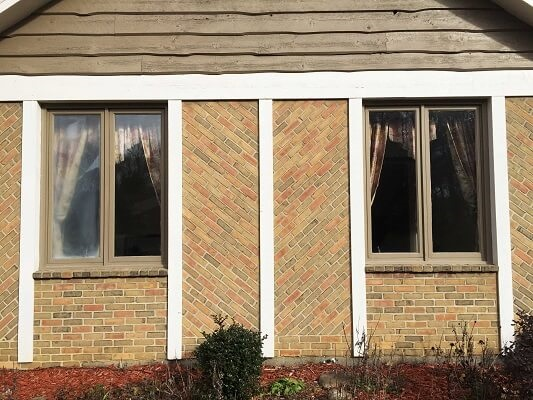 before - two casement wood windows