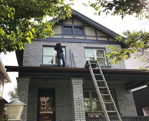 after image of historic columbus home with new fiberglass single hung windows
