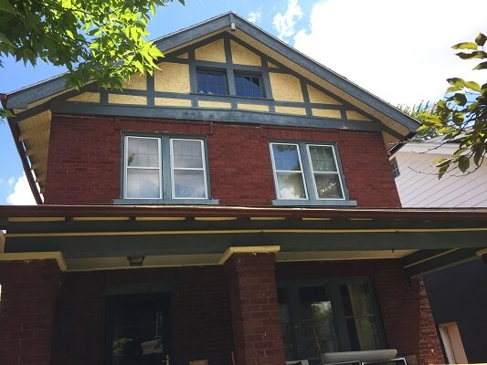 before image of historic columbus home with new fiberglass single hung windows