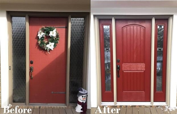 before and after entry door transformation