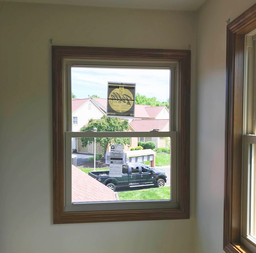 Interior view of new vinyl double-hung window