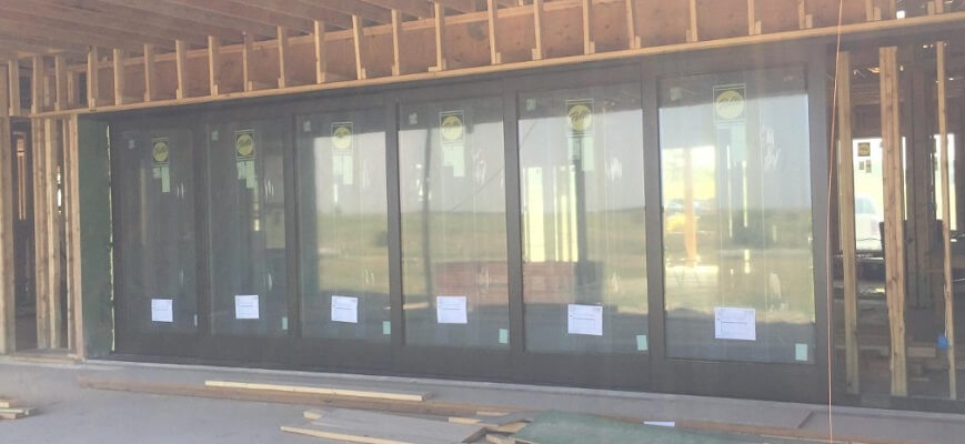 New Construction Wood Sliding Patio Door Outside