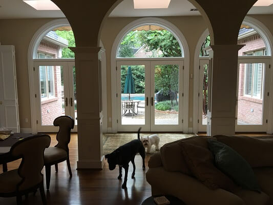 dallas home gets new wood hinged patio doors inside view