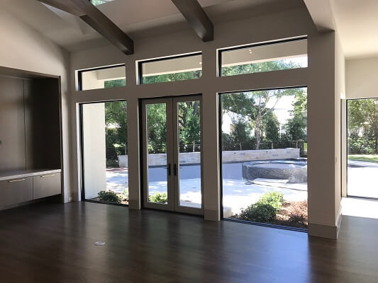 inside view of dallas new construction home with new wood windows
