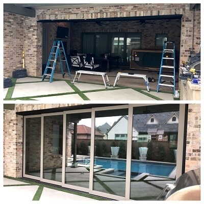 enclosed outdoor space with multi-slide patio doors