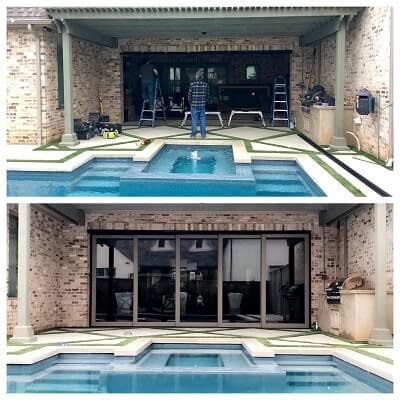Outdoor Entertainment Space With Multi Slide Patio Doors