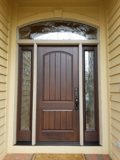 3 Wide Entry Door with Decorative Glass and Arch Top