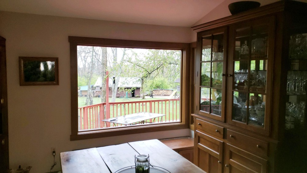 Large fixed window Springboro home interior after