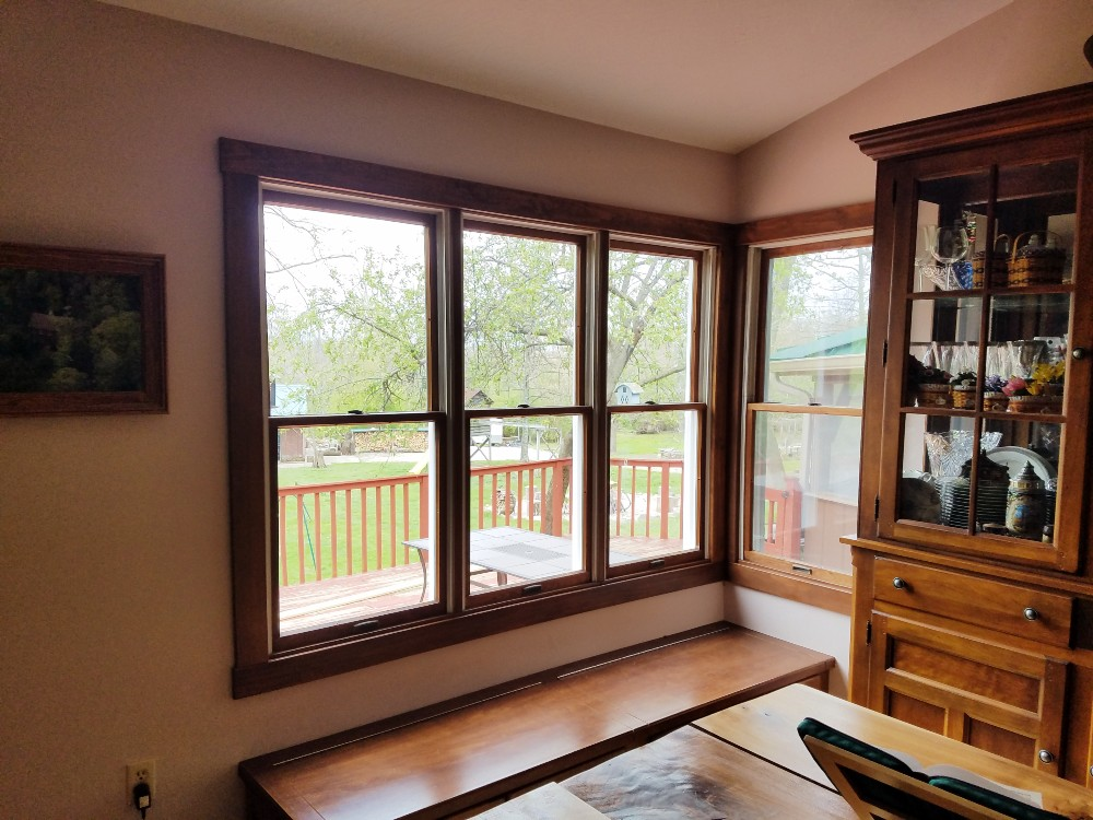 Old 3 wide double hung window interior Springboro home