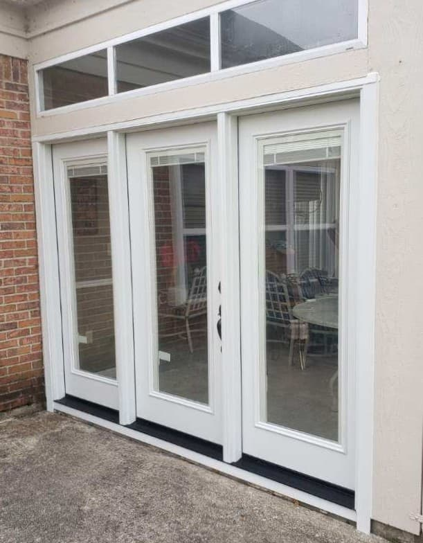 New white wood entry door system