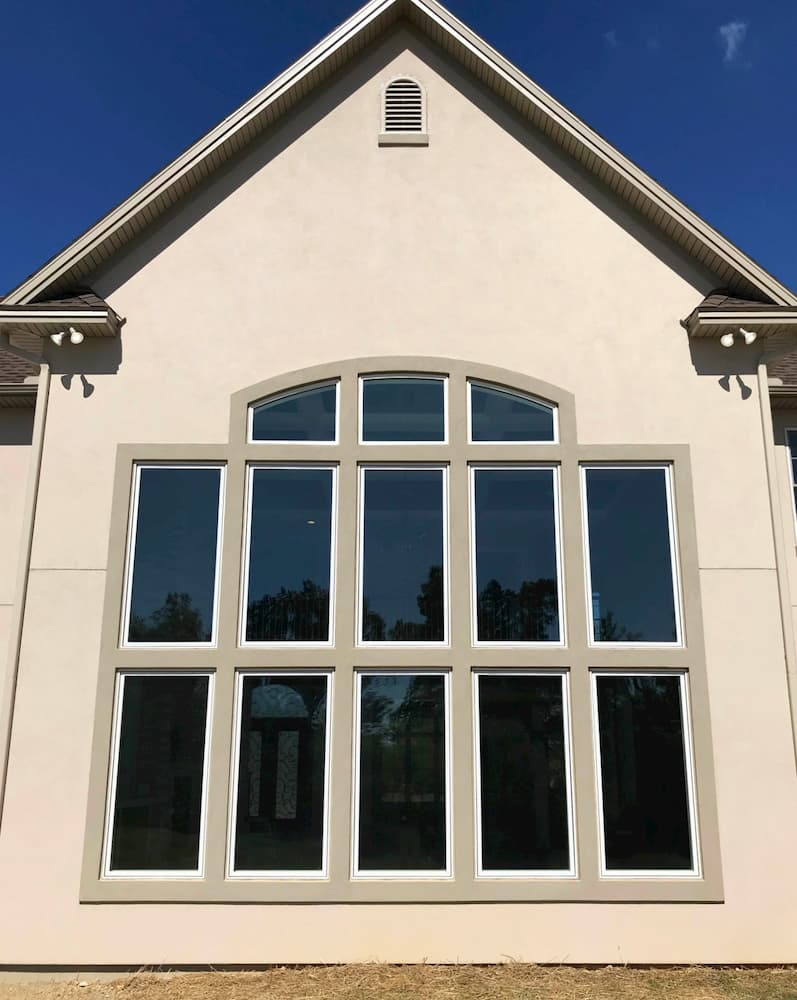 Exterior view of fixed and casement wood windows