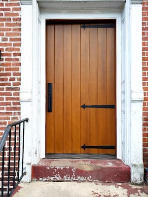 Fiberglass Stained Entry Door a Perfect Fit for Brick Home