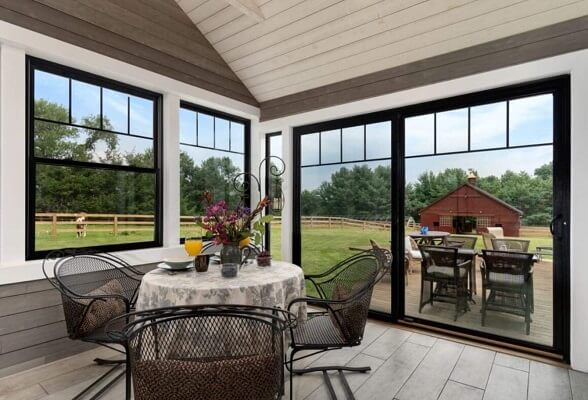 patio view of newtown home with new fiberglass windows