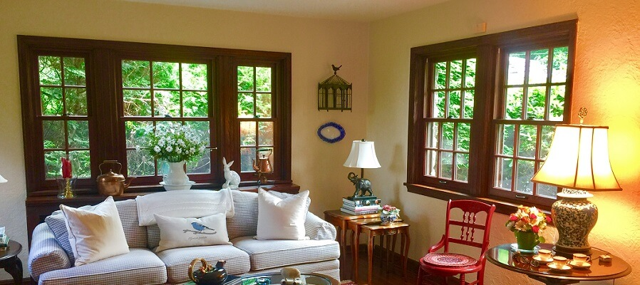 Wood Double-Hung Windows Complement Traditional Living Room