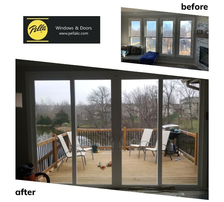 Lakefront home interior view before 4 windows and after four panel sliding glass patio door
