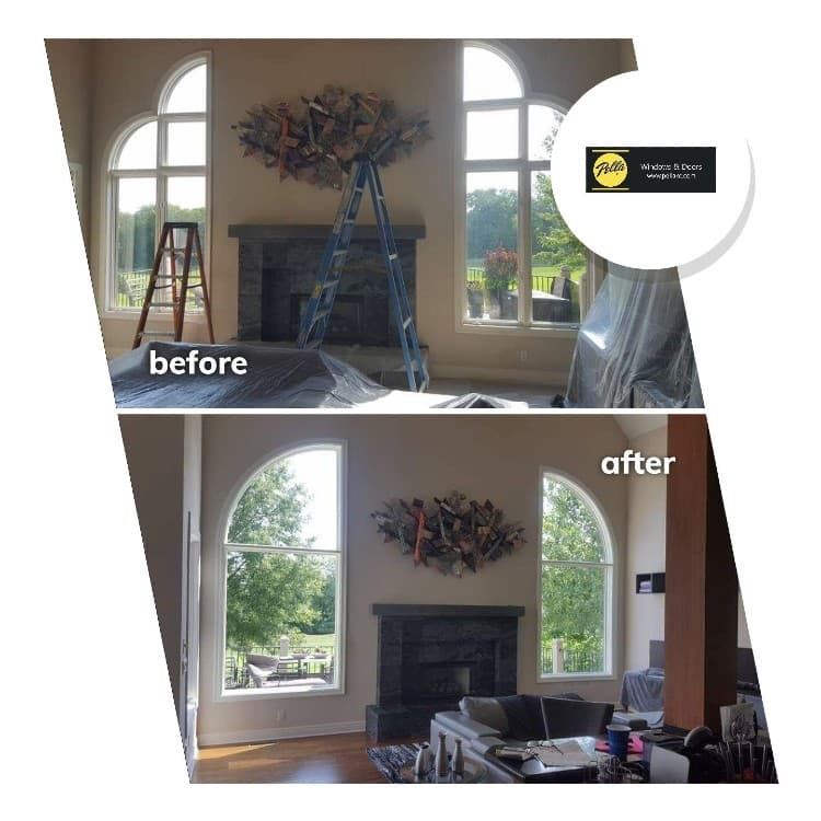 Custom arched window install before and after interior view