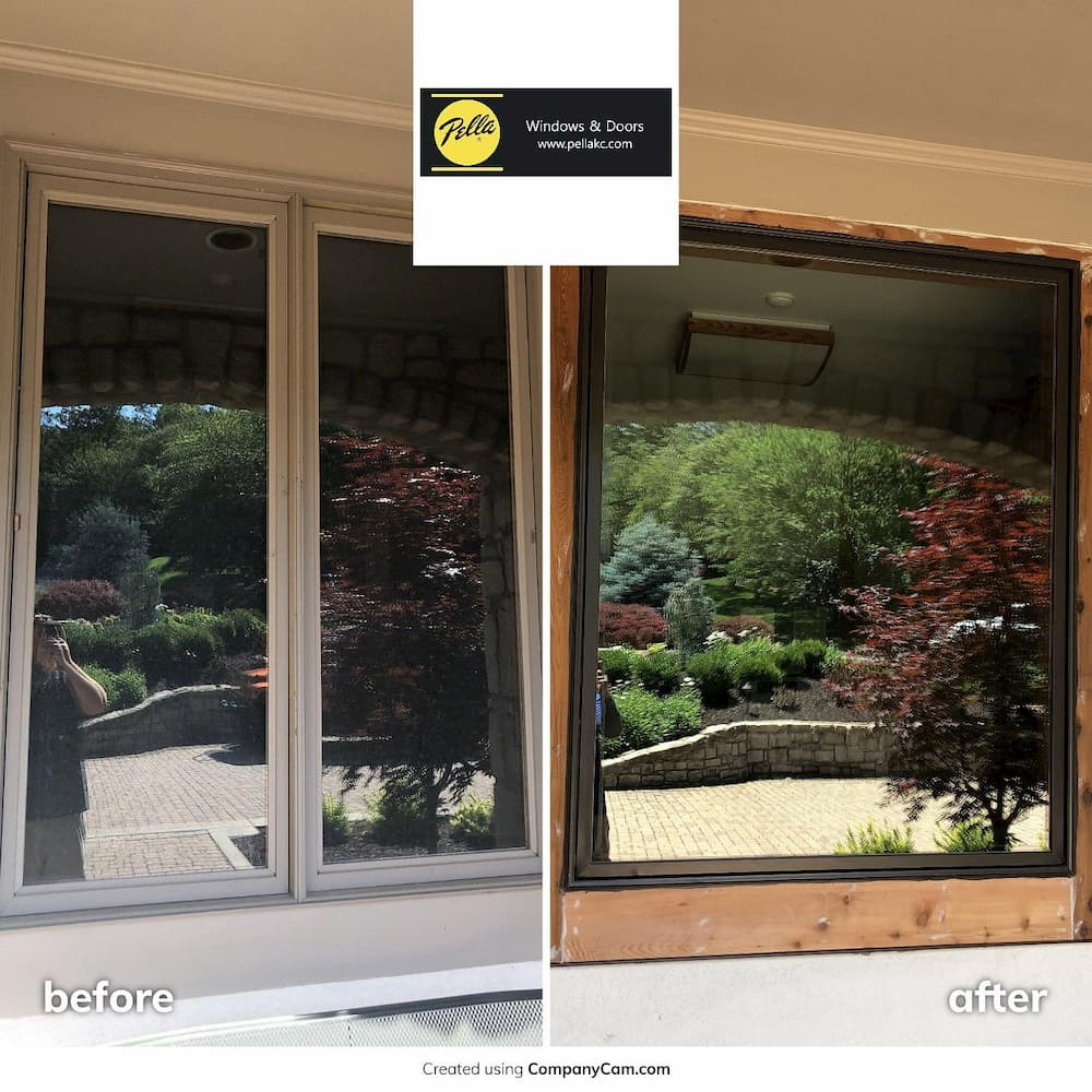 White frame double casement window to black frame picture window, before and after comparison