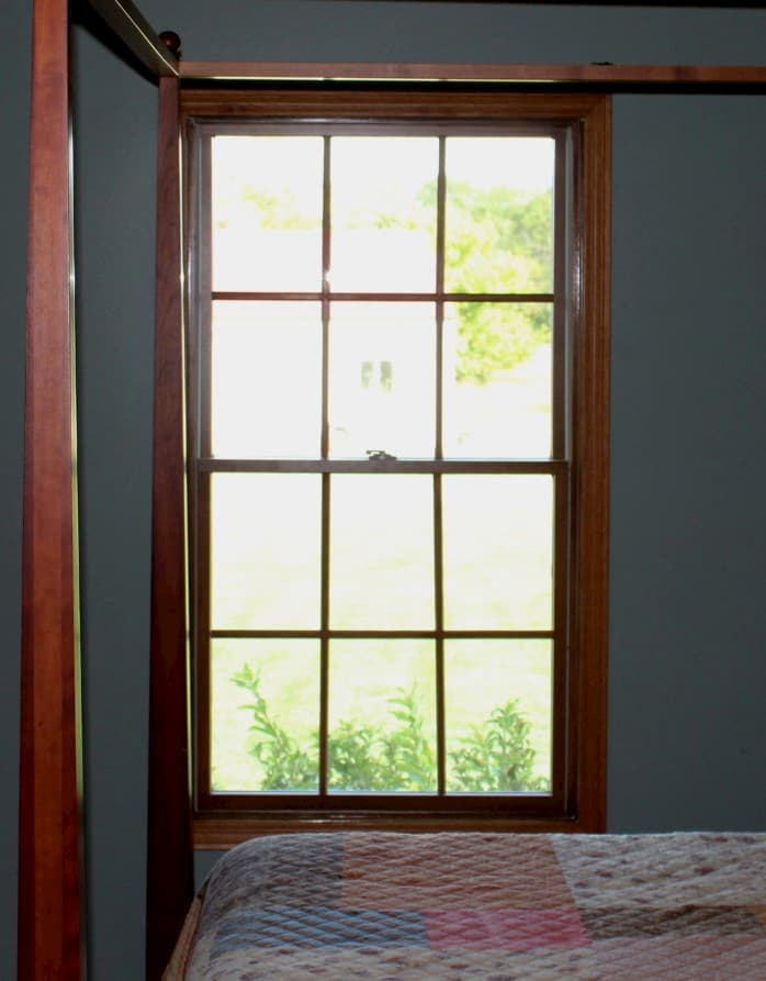 Interior view of wood double-hung window