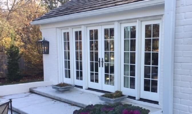 side view of kansas home with new french hinged patio doors