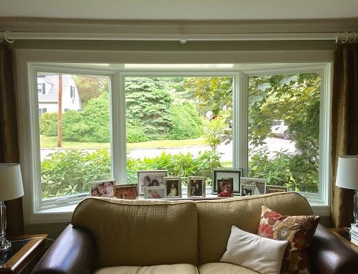 inside image of scarsdale home with new bow window and fiberglass entry door