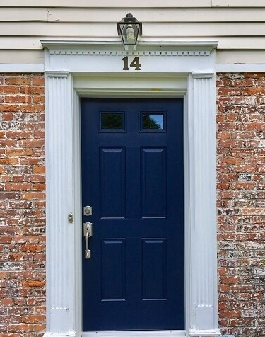 door image of scarsdale home with new bow window and fiberglass entry door