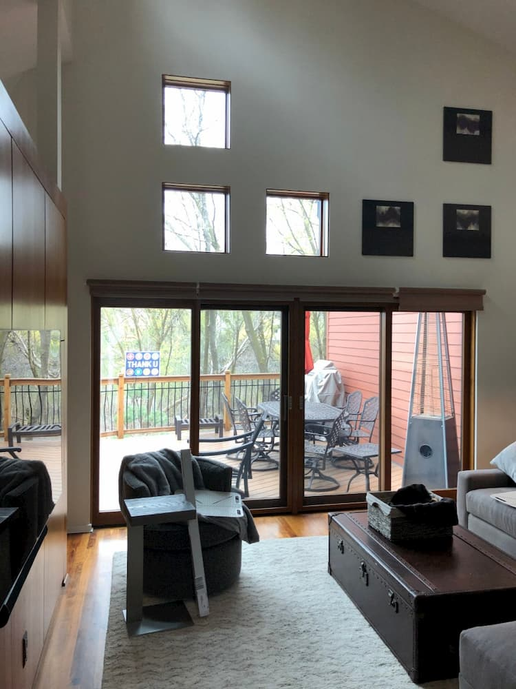 Golden Valley Minnesota home interior new sliding patio door and square windows