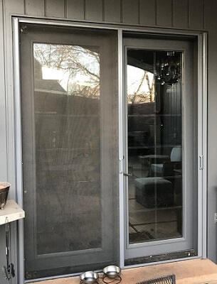 exterior of old hinged patio doors